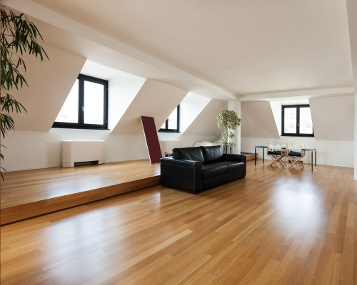 Laminate Flooring in Loft with Raised Area